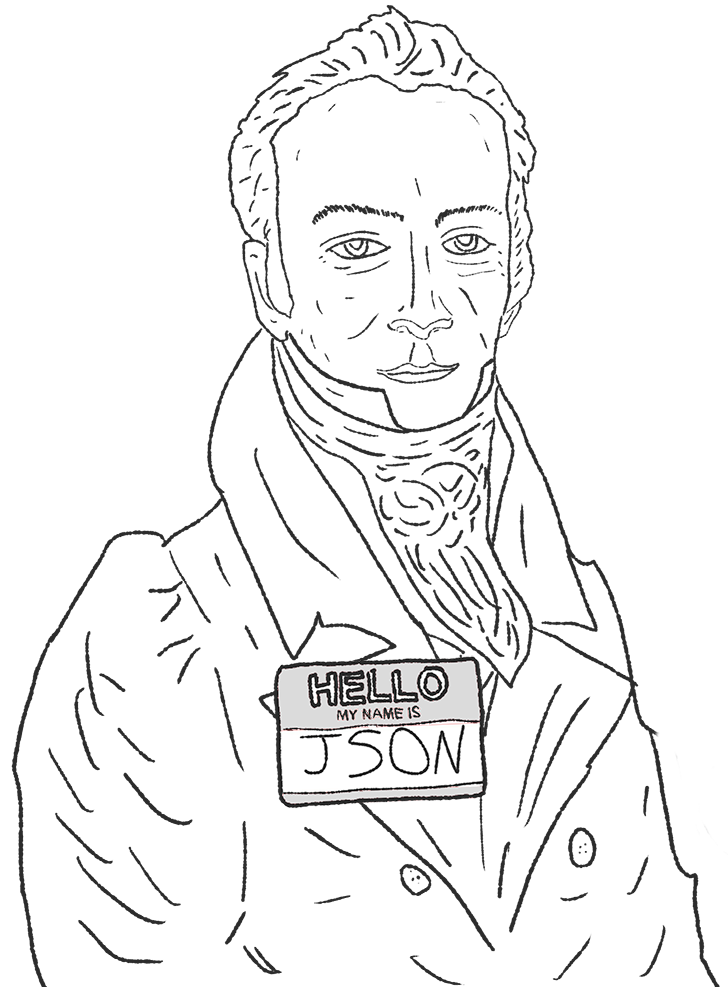 hand drawn portrait of the Smithsonian guy